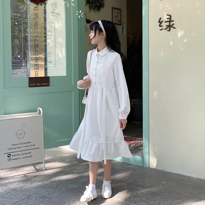 【BYJ】ミドル丈チャイナ風ワンピース◆ワンピース S、M、L