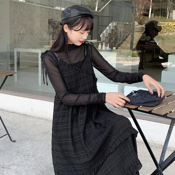 【BYJ】ミドル丈チェック柄スリングスカート◆ワンピース S、M、L
