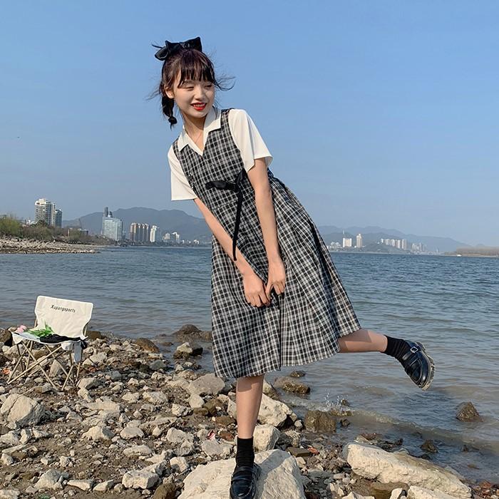 【BYJ】チェック柄ノースリーブワンピース◆ワンピース S、M、L