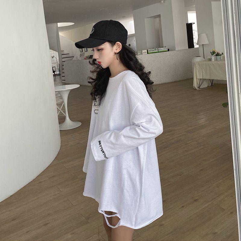 2020秋新作 クラッシュ加工ロングTシャツ◆レディース トップス Tシャツ M、L、XL