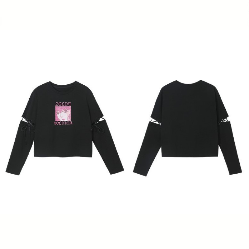 【BYJ】取り外し可リボンスリーブイラストプリントTシャツ◆トップス S、M、L