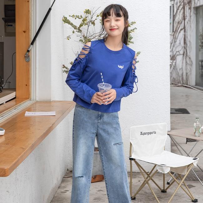 【BYJ】ストラップスリーブイラストプリントTシャツ◆トップス S、M、L