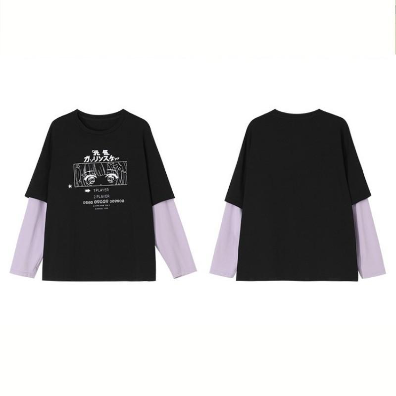 【BYJ】フェイクツーピースGSイラストプリントTシャツ◆トップス S、M、L