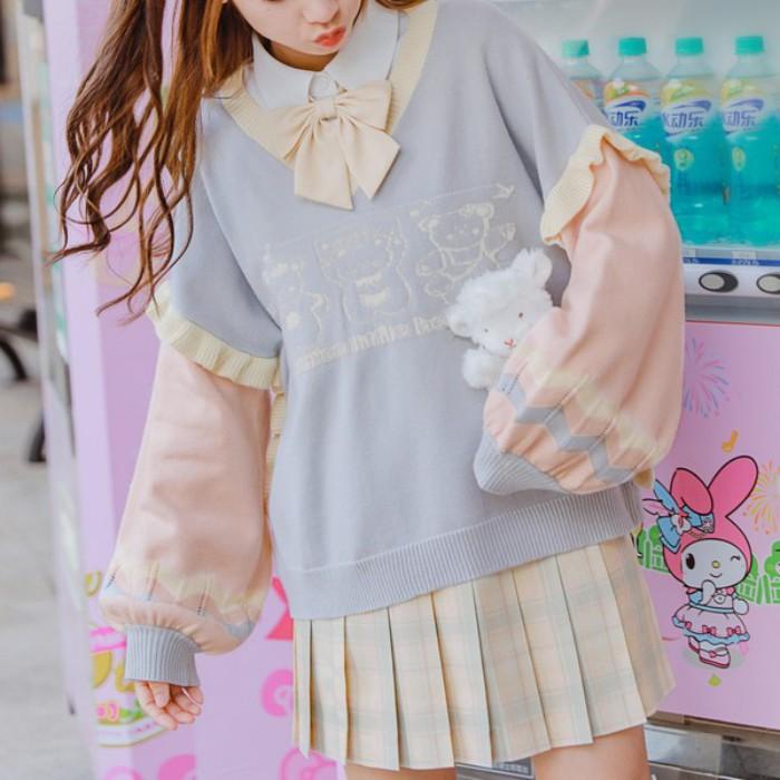 【snbl】Vネック袖切り替えルーズセーター◆トップス XS、S、M、L