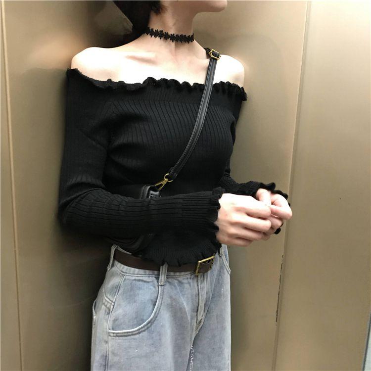 2020秋新作 オフショルカットソー黒◆レディース トップス ワンサイズ