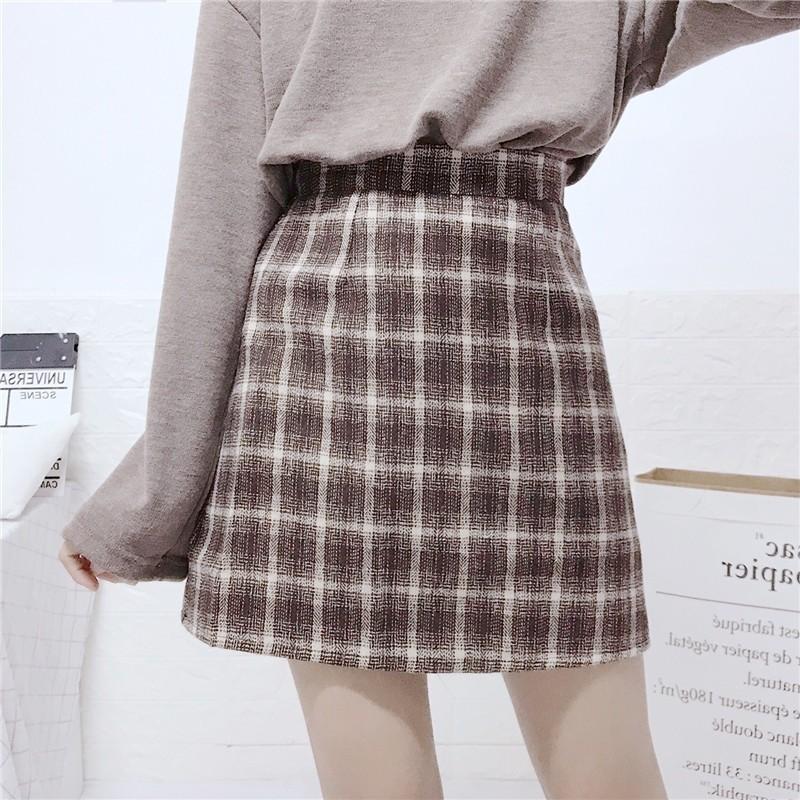 ブレストステッチトップ+チェック柄スカート◆セットアップ S、M