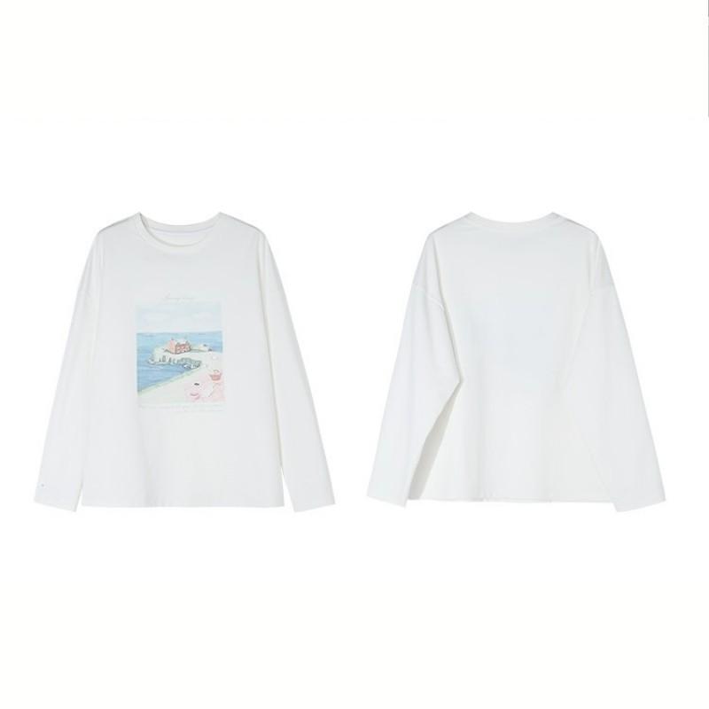 【BYJ】イラストプリントシーサイドTシャツ◆トップス S、M、L