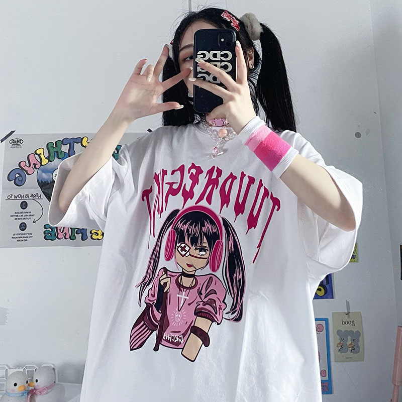 イラストプリントTシャツヘッドホンガールver◆トップス Tシャツ ワンサイズ