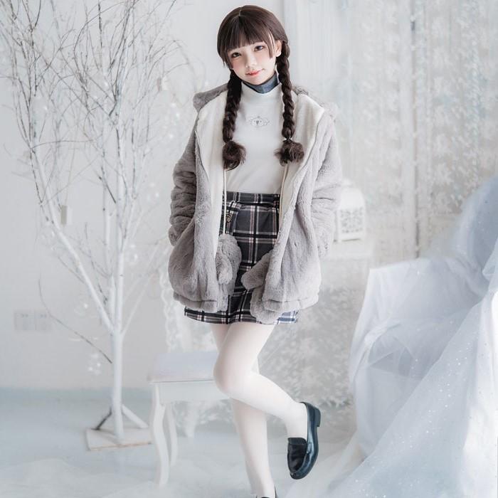 コットンコアラジャケット+トップス+スカート+手袋◆セットアップ S、M