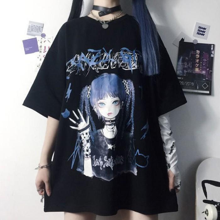 イラストプリントTシャツダークガールver◆トップス Tシャツ M、L、XL
