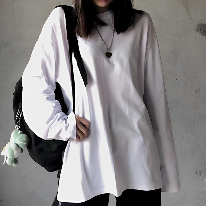 テキストスリーブ長袖ボトミングシャツ◆トップス M、L、XL、XXL