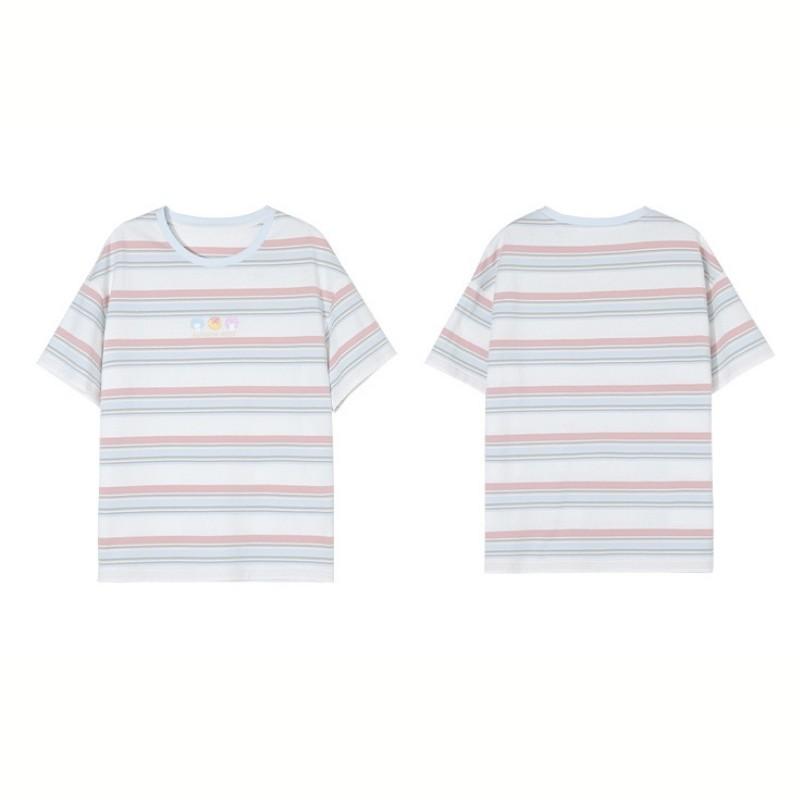 【BYJ】レインボーストライプTシャツ◆トップス S、M、L