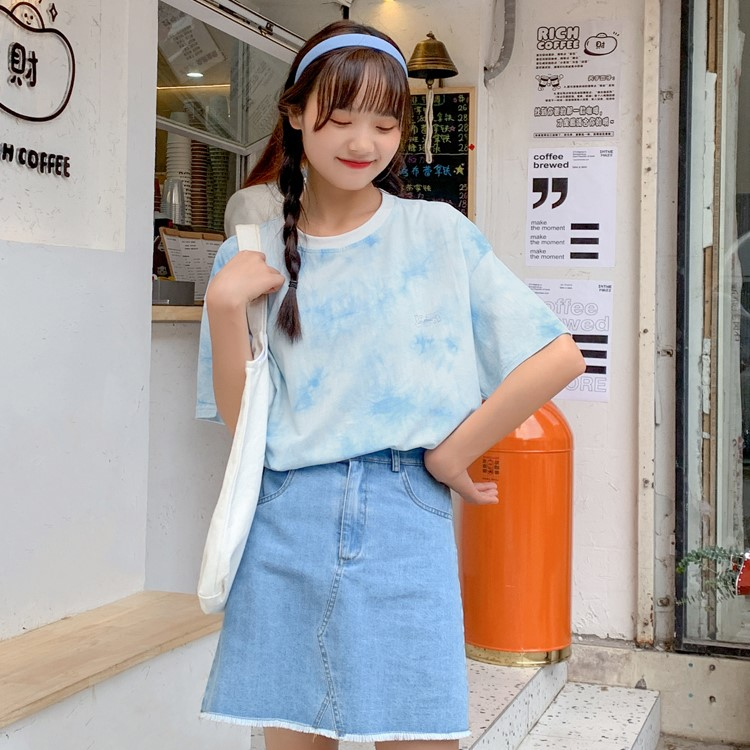 【BYJ】絞染ラウンドネックルーズTシャツ◆トップス S、M、L