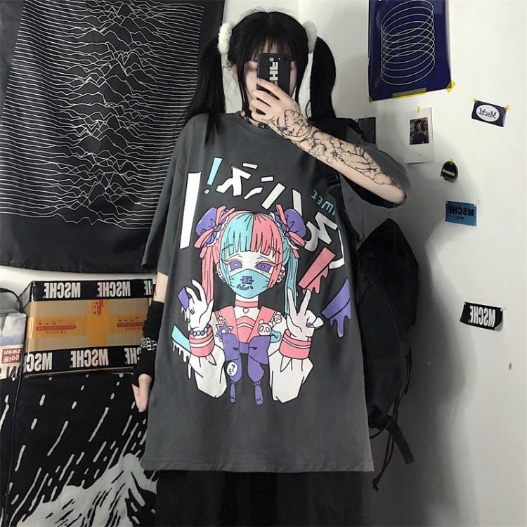 イラストプリントルーズTシャツ悪ver◆トップス Tシャツ M、L、XL、XXL