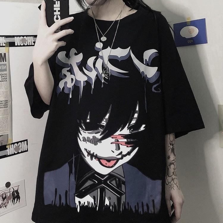 イラストプリントグラフィティルーズTシャツ◆トップス Tシャツ M、L、XL