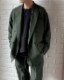MR.OLIVE / RETRO POLYESTER TWILL / DOUBLE BIG SILHOUTTE SOFT JACKET ミスター.オリーブ レトロ ポリエステル ツイル ダブル ビッグシルエット ソフトジャケット グリーン