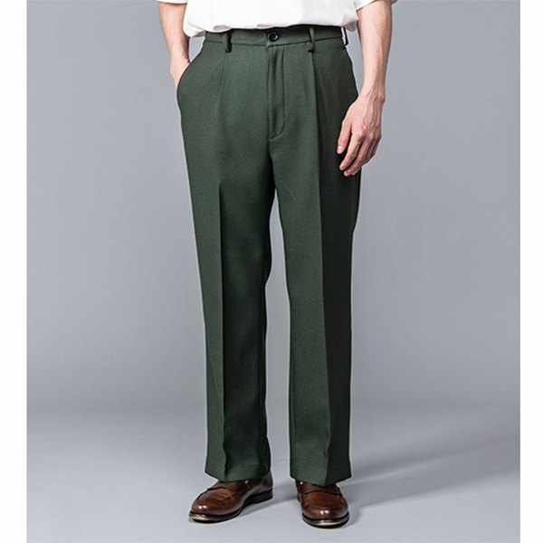 MR.OLIVE / RETRO POLYESTER TWILL / STA-PREST STRAIGHT PANTS ミスター.オリーブ レトロ ポリエステル ツイル スタプレスト ストレート パンツ グリーン