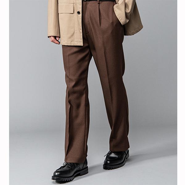 MR.OLIVE / RETRO POLYESTER TWILL / STA-PREST STRAIGHT PANTS ミスター.オリーブ レトロ ポリエステル ツイル スタプレスト ストレート パンツ ブラウン