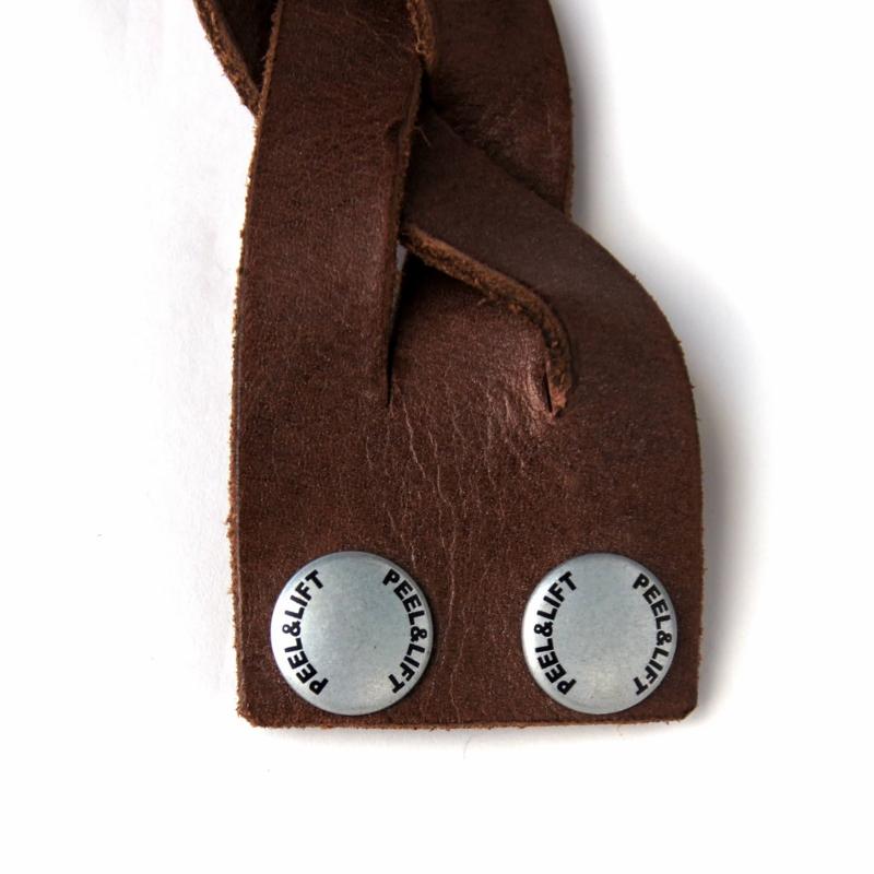 PEEL&LIFT ピールアンドリフト braided leather bracelet (wide) Brown