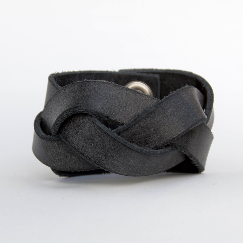 PEEL&LIFT ピールアンドリフト braided leather bracelet (wide) BLACK