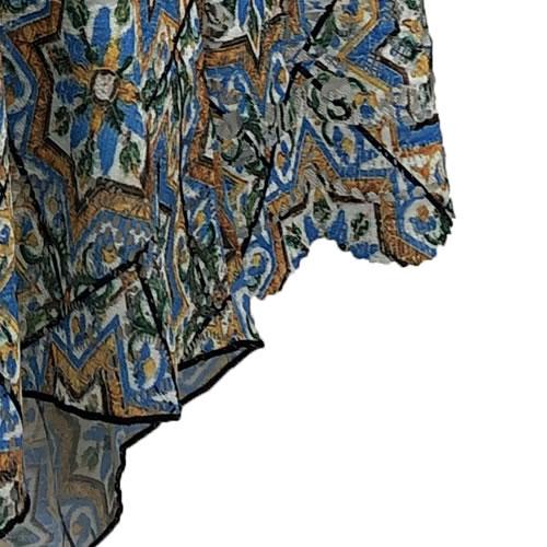 チュニック アシンメトリー ラインストーン レース 転写プリント モロッコタイル柄 長袖 1737 08 【cinq dix】