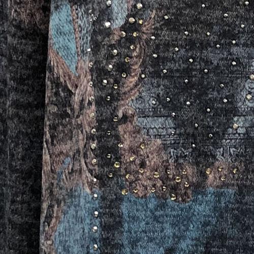 チュニック ニット Aライン ラインストーン 長袖 1007 19 【cinq dix】