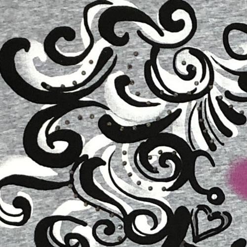 チュニック Aライン ガールズプリント 七分袖 AW03 18 【cinq dix】