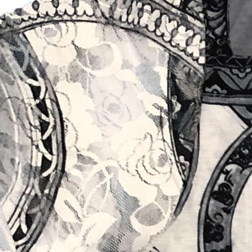 チュニック アーチヘム Aライン ラインストーン レース 転写プリント 半袖 1718 16