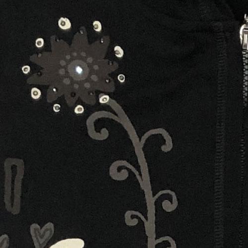 パーカー アニマル プリント ネコ ラインストーン ジップアップ 丈長 長袖 PK04 20