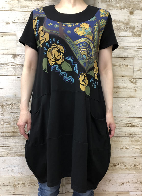 チュニック バルーン ラインストーン ポケット付き 半袖 SS17 20 【cinq dix】