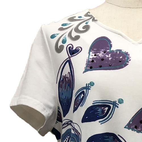 チュニック Aライン ラインストーン 裾フリル 半袖 SS20 01 【cinq dix】