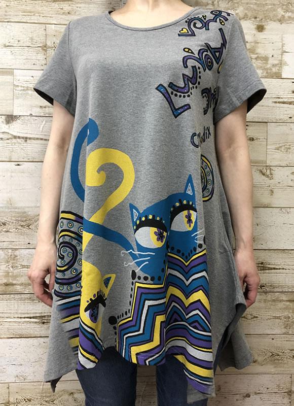 チュニック ワイドヘム ラインストーン アニマルプリント ネコ 半袖 SS21 19 【cinq dix】