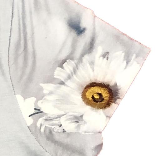 チュニック アシンメトリー ラインストーン シフォン 転写プリント 半袖 0039 18 【cinq dix】