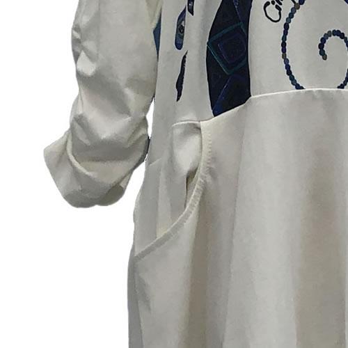 チュニック バルーン ポケット付き 七分袖 SS01 01 【cinq dix】