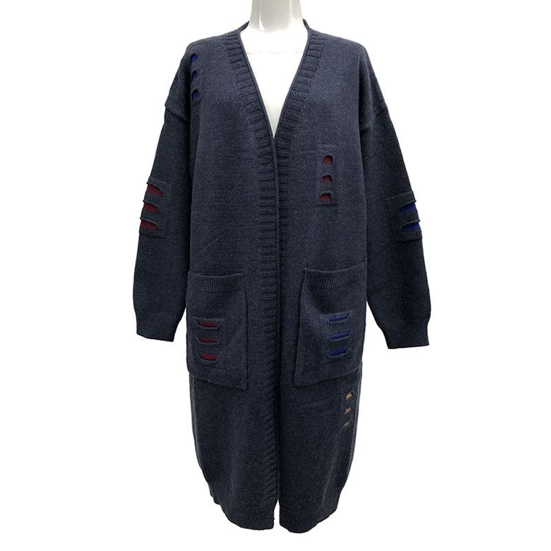 ニット カーディガン 丈長 長袖 ポケット付き M06 04 【cinq dix】