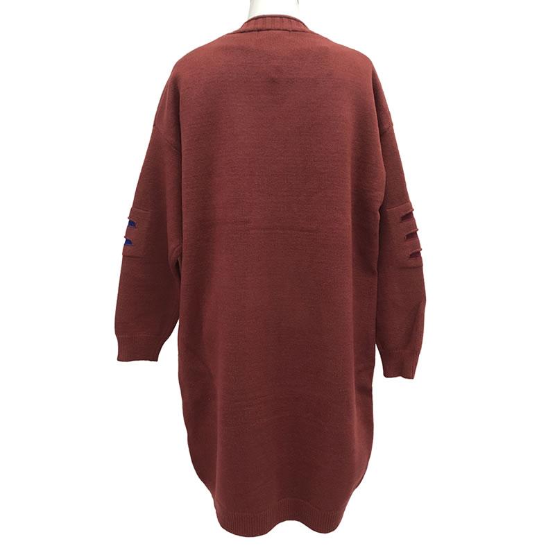 ニット カーディガン 丈長 長袖 ポケット付き M06 12 【cinq dix】