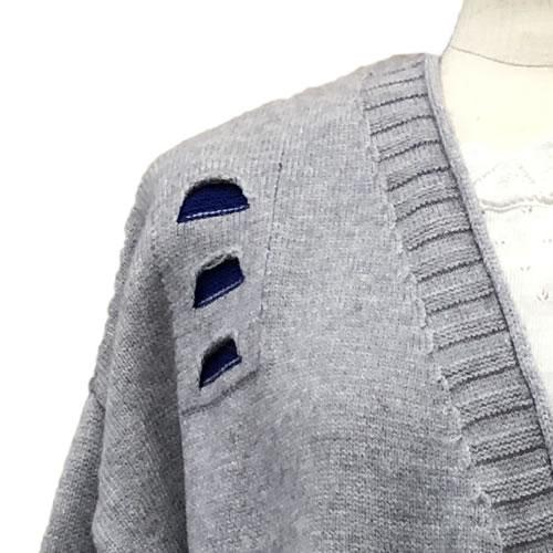 ニット カーディガン 丈長 長袖 ポケット付き M06 18 【cinq dix】