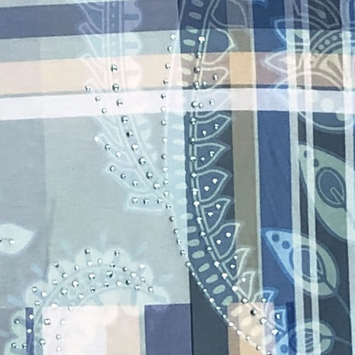 チュニック アシンメトリー ラインストーン シフォン 転写プリント 七分袖 2094 03 【cinq dix】