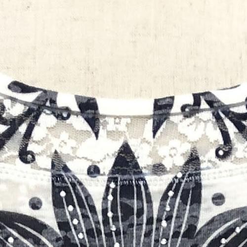 カットソー ラインストーン レース 転写プリント 長袖 2103 04 【cinq dix】
