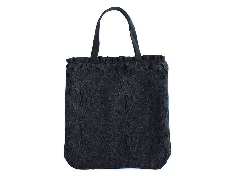 ブラックレース小物/ギュピール・トートバッグ
