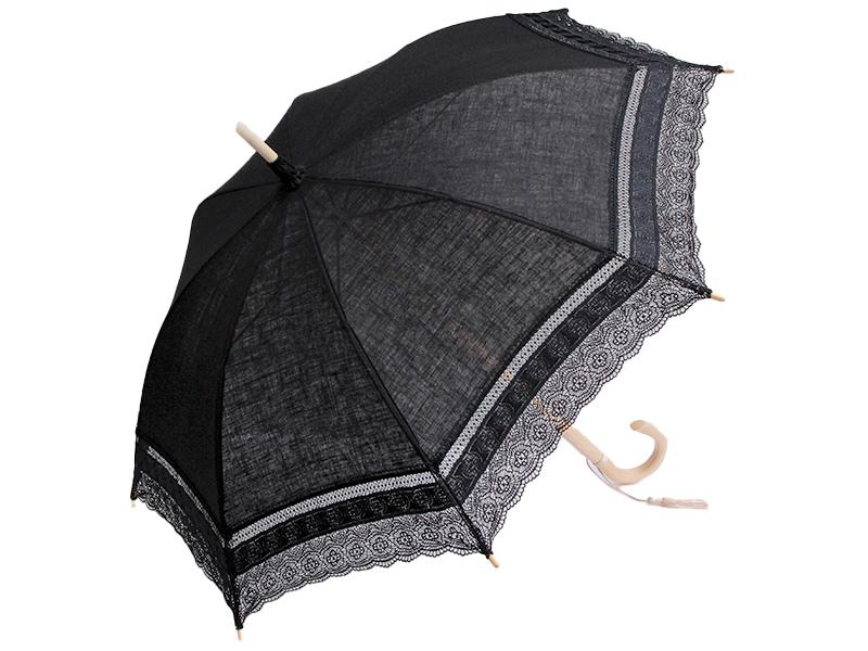 長日傘/サテンリボン・ブラック