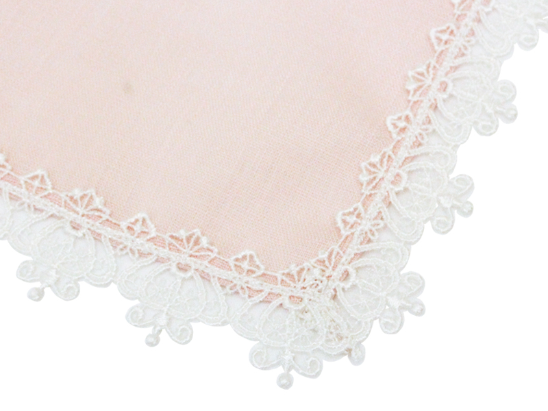 クラウンレース麻ハンカチ/ピンク