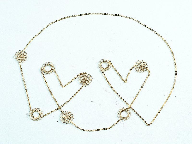 【受注販売】Button Long(F)Necklace - Crochet with Wire-