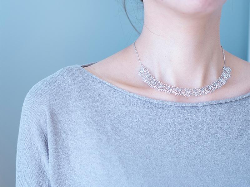 【受注販売】Matsu#2 Necklace - Crochet with Wire-