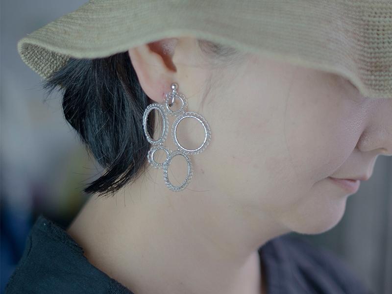 【受注販売】Bukubuku Earring - Crochet with Wire-