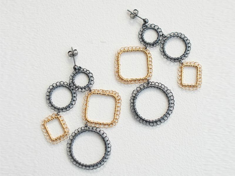 【受注販売】○□ Earring - Crochet with Wire-