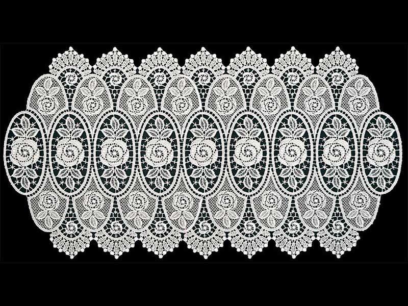 【Wポイント】ヨーロピアンレース ローズテーブルマット 35×70cm