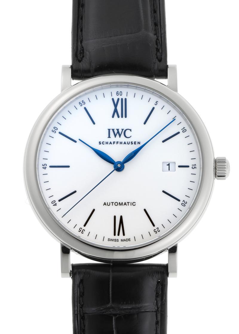 【中古】IWC IW356519 ポートフィノ オートマティック 150イヤーズ SS 白文字盤 自動巻き レザー