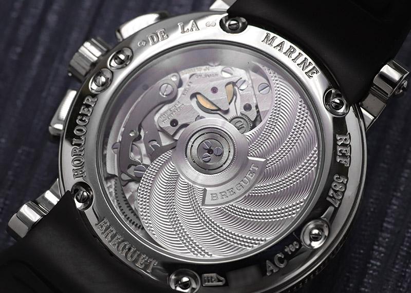 【中古】ブレゲ 5827BB/12/5ZU マリーン� クロノグラフ WG シルバー文字盤 自動巻き ラバー