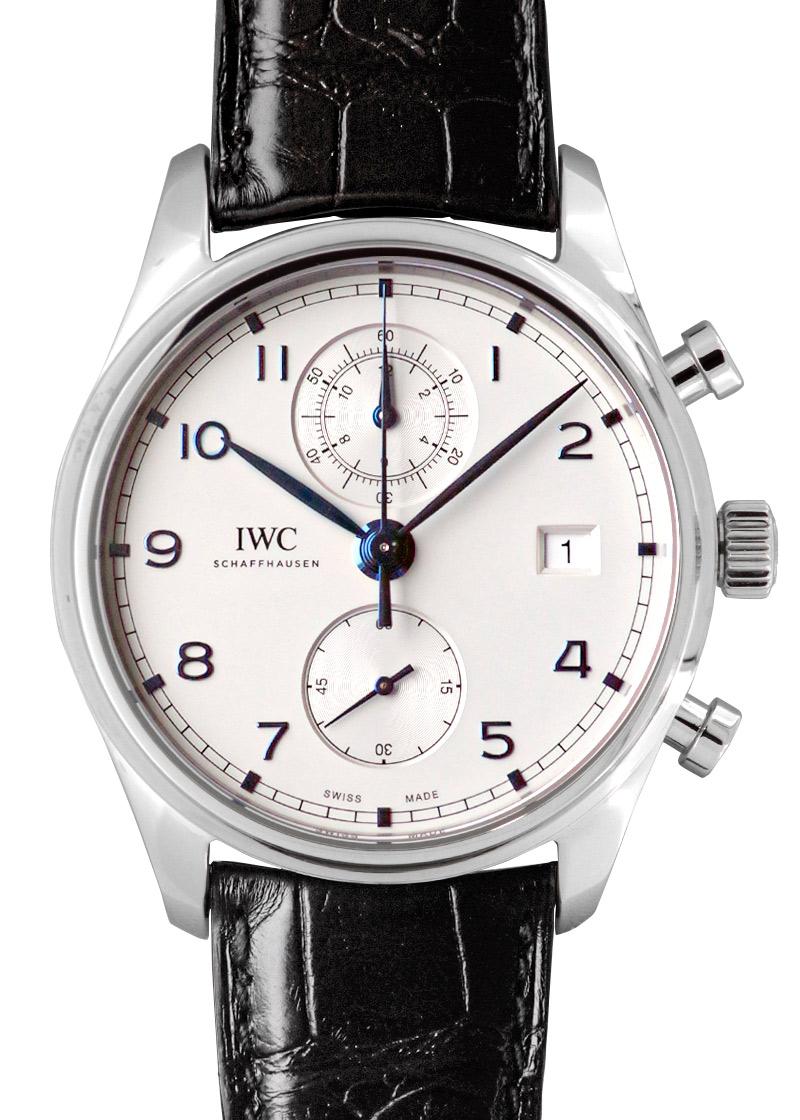 IWC IW390302 ポルトギーゼ クロノグラフ クラシック SS シルバー文字盤/青針 自動巻き レザー